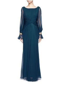 NOTTE BY MARCHESA - Embellished cuff draped silk gown | Blue and Green Evening Dresses | Womenswear | Lane Crawford