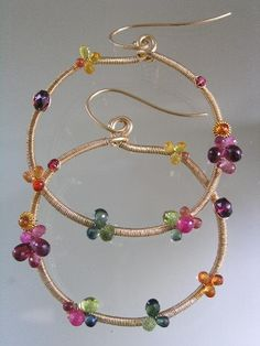 Inbetween the Rainbow....Vibrant Multi Hued Sapphire Tourmaline Studded Signature Original Gold Filled Hoop Earrings