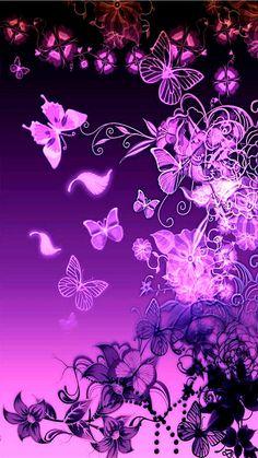 Wallpaper by artist unknown purple butterfly, butterfly flowers, Purple Wallpaper, Butterfly Wallpaper, Heart Wallpaper, Cellphone Wallpaper, Disney Wallpaper, Wallpaper Backgrounds, Iphone Wallpaper, Phone Backgrounds, Butterfly With Flowers Tattoo