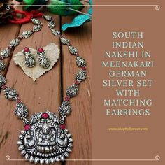 Look Traditional and ethnic in this Beautiful South Indian Nakshi style In Meenakari German Silver Set With Matching Earrings 1 Gram Gold Jewellery, Silver Jewellery Indian, Silver Jewelry, Jewellery Box, Glass Jewelry, Jewelery, Sterling Silver Bracelets, Silver Earrings, Silver Rings Online