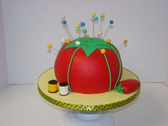 Sewing tomato(pin cushion)  cake by sweetcakesbyrebecca, via Flickr