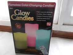 New Flamless Color Changing Glow Candles Remote Control Vanilla Scented Real Wax #GlowCandles