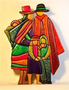Andina Family, Peru Wooden Mosaic Art, made by Woodflair Wooden Painting, Wooden Art, Diy Painting, Intarsia Wood Patterns, Hispanic Art, Peruvian Art, Latino Art, Clay Wall Art, Watercolor Art