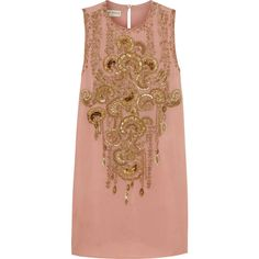 Emilio Pucci Embellished silk-georgette mini dress (£806) ❤ liked on Polyvore featuring dresses, & - clothing - dress, robes, vestidos, antique rose, rose dress, loose fitting dresses, beige short dress, mini dress and emilio pucci