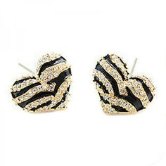 Corazones cebra - PVP: 2.99€ - Más información en la web:http://ohlalabijoux.com/pendientes/341-corazones-cebra.html