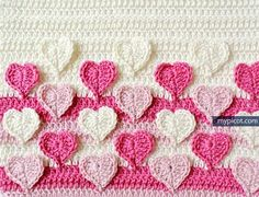 @ MyPicot - Free crochet pattern - multicoloured hearts