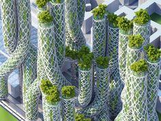 """Vincent Callebaut's 2050 Vision of Paris as a """"Smart City"""" with 8 Plus-Energy Towers - Alles über Architektur und Architektur Architecture Durable, Futuristic Architecture, Sustainable Architecture, Amazing Architecture, Landscape Architecture, Architecture Design, Ville Durable, Vincent Callebaut, Eco City"""