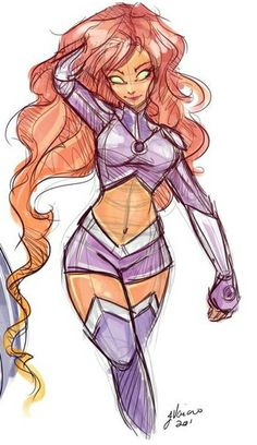training outfit ~ neckline a little lower ~ very balanced ~ completely stylish ~ minimal changes ~ practical heel … Starfire And Raven, Teen Titans Starfire, Nightwing And Starfire, Teen Titans Go, Dc Comics, Comics Girls, Character Art, Character Design, Original Teen Titans