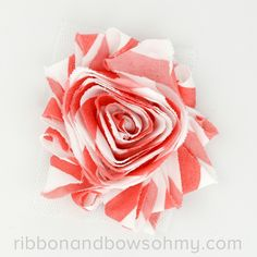 Ribbon And Bows Oh My! Coral <3 17 colors of #chevron Shabby Chiffon Flowers! #chiffonflower #shabbychic #coral