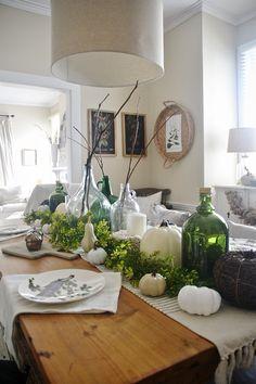 neutral fall centerpiece - glass jugs, pumpkins, sticks, & more!