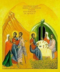 Sur cette Icône, les disciples d'Emmaüs semble bien être un homme et une femme.