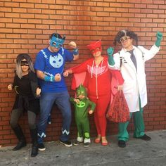Nighttime Is the right time To fight crime! PJ Masks group costume #pjmasks #lunagirl #catboy #gecko #owlette #romeo