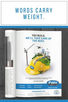 Sometimes it just takes one bold #headline to get your message across! Design 446 created this #ad for FWH Associates to showcase all of their areas of expertise. 📐👷
