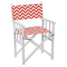"""Wooden indoor/outdoor director's chair with removable chevron-print seat and back.   Product: Indoor/outdoor director's chairConstruction Material: Wood frame and outdoor polyester fabricColor: Salmon chevronFeatures: Made in the USA Dimensions: 34"""" H x 19"""" W x 22"""" DCleaning and Care: Removable washable cover"""