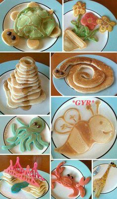 Pancakes in a bunch of different shapes and colors. Cute and looks delicious.