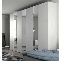 Exclusive white 'Gherardo' Wardrobe. White wood with mirrors, very big, great centrepiece for your bedroom. My Italian Living.