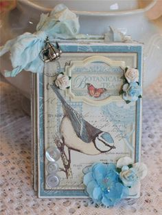 Botanical Tea Shabby Rose DANI Premade Scrapbook TPHH Mini Photo Chipboard Album