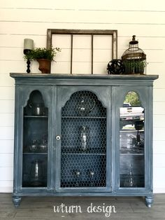 Items similar to Sold! Blue Grey Farmhouse hutch/ buffet/ China cabinet on Etsy Diy Furniture Redo, Refurbished Furniture, Farmhouse Furniture, Repurposed Furniture, Furniture Projects, Vintage Furniture, Painted Furniture, Farmhouse Decor, Home Furniture