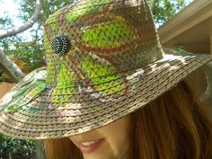 Sun Dalhia Hand Painted Hat Womens Hats by RoseManorGiftsandArt, $26.00