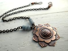 Copper Lotus Flower Necklace --  etched lotus flower pendant with blue grey angelite stones -- modern zen jewelry (2372)