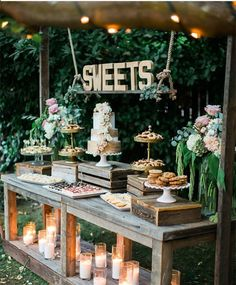 34 Mouth-watering Wedding Dessert Table Ideas - Amaze Paperie - Serve dessert in the garden. Informations About 34 Mouth-watering Wedding Dessert Table Ideas – Am - Dessert Table Decor, Sweet Table Decorations, Rustic Dessert Tables, Outdoor Dessert Table, Diy Dessert, Bridal Shower Table Decorations, Bridal Table, Garden Wedding Decorations, Ceremony Decorations