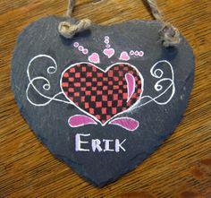 Valentine Decorative Hand-Painted Slate Heart Plaque with jute hanger--Original OOAK Personalized