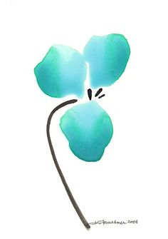 Abstract Watercolor Flower Art Print  Aqua by karenfaulknerart, $15.00