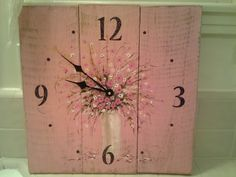Reclaimed Wood Wall Clock Original Hand Painted by Loriluvscolors Decor, Wall Clock, Floral Wall, Wood Wall Clock, Upcycled Home Decor, Floral Wall Decor, Floral Wall Clocks, Reclaimed Wood Wall, Rustic Wood Signs