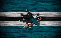Download wallpapers San Jose Sharks, 4k, NHL, hockey club, Western Conference, USA, logo, wooden texture, hockey, Pacific Division