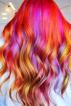 Vivid Hair Color, Vibrant Hair Colors, Cute Hair Colors, Beautiful Hair Color, Hair Color Pink, Hair Dye Colors, Bright Hair, Cool Hair Color, Orange And Pink Hair