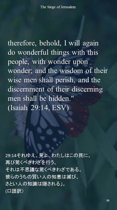 """therefore, behold, I will againdo wonderful things with this people, with wonder upon wonder; and the wisdom of their wise men shall perish, and the discernment of their discerning men shall be hidden.""""(Isaiah 29:14, ESV)29:14それゆえ、見よ、わたしはこの民に、 再び驚くべきわざを行う、 それは不思議な驚くべきわざである。 彼らのうちの賢い人の知恵は滅び、 さとい人の知識は隠される」。 (口語訳)"""