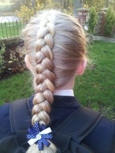 Classic dutch braid ready for school