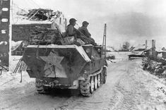 A captured German Sdk. 251 halftrack used by L Company, 16th Infantry to bring supplies to the front near Schoppen, 22 January 1945.