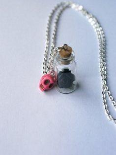 Black Rose & Pink Skull Keepsake
