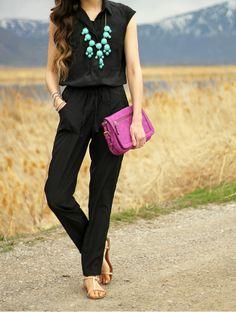 { black jumpsuit & pop of color }