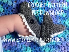 Crochet PATTERN for Shark Slipper Socks- Baby, Child, and Adult Sizes in ENGLISH only