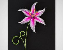 "String art ""The Stargazer Lily"". String art flower. Purple lily. String art…"