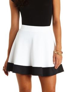 color block high-waisted skater skirt: skater skirts are my goal