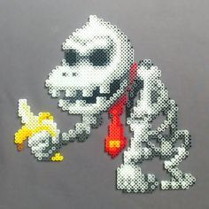 He has no blood, has no flesh. This Kong is missing his face! Saw this sprite on DeviantArt and had to make a #perler version for #Halloween!