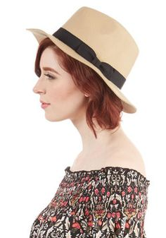 Dapper Keeper Hat. Flaunt a little menswear-inspired style in this debonair Panama hat! #tan #modcloth Pair with a sundress for my shower?