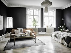 Home Decorating Style 2020 for 48 Inspirational White Walls Living Room Design Ideas, you can see 48 Inspirational White Walls Living Room Design Ideas and more pictures for Home Interior Designing 2020 6595 at Home To. Dark Walls, White Walls, Black And White Living Room, Black White, Dark Grey Walls Living Room, Scandinavian Interior Design, Design Interior, Scandinavian Style, Dream Decor