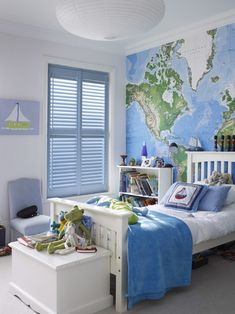 Add wanderlust into your room with giant map wall mural. Use white and blue throughout the rest of the room to bring the theme together. Made to measure blue shutters would look brilliant with this look. Great for a living room or bedroom. Bedroom Themes, Kids Bedroom, Bedroom Decor, Bedroom Ideas, Kids Rooms, Travel Bedroom, Blue Shutters, Boys Wallpaper, Map Wallpaper