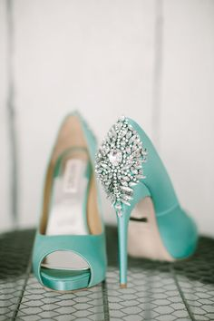 Stunning cyan wedding high heels with sparkling crystal studs on the back.