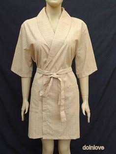 Women's beige colour soft cotton light weight kimono style