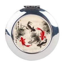 Koi fishes and flowers Round Compact Mirror for