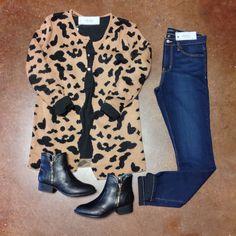 •Last Chance for Leopard• Scalloped Leopard Cardigan- $58. {Size Medium, Online & In-Store} Black Tunic- $38. {Online}  Cuffed Slim Boyfriend- $68. Chelsea Zip Booties- $48. {Online}  #elysianlove #leopard #casuallystyled #denim #booties #tunic