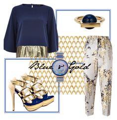 """""""blue & gold"""" by daija821 ❤ liked on Polyvore featuring Barclay Butera, Rochas, River Island, 2 Lips Too, Porsamo Bleu and URiBE"""