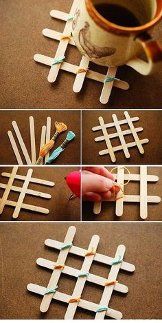 Sticks for ice cream popsicle stick art, diy gifts with popsicle sticks Diy Home Crafts, Crafts To Make, Easy Crafts, Crafts For Kids, Diy Popsicle Stick Crafts, Popsicle Sticks, Popsicle Stick Coasters, Ice Cream Stick Craft, Pop Stick