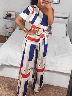 2018 New Fashion Summer Women Stylish Elegant Colorful Jumpsuit Female Overalls Geo Print One Shoulder Wide Leg Jumpsuit African Print Fashion, African Fashion Dresses, Fashion Outfits, Womens Fashion, Fashion Boots, Fashion Top, Cheap Fashion, Fashion Fall, Ladies Fashion
