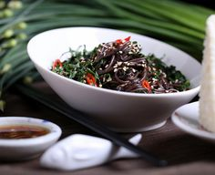 Black Rice Noodles with Fresh Kale, Mint and Basil